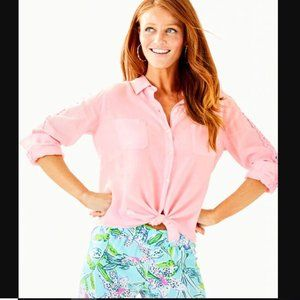 Lilly Pulitzer Pink Sea View Button Down Top Lace